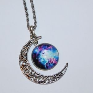 Celestial Moon Galaxy Crescent Moon Necklace